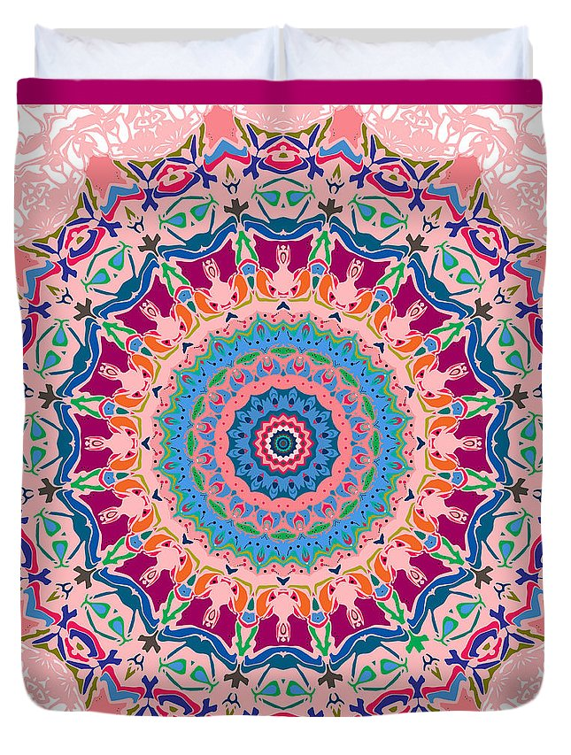 Mandala Duvet Cover featuring the digital art Hearts And Flowers No. 1 by Joy McKenzie