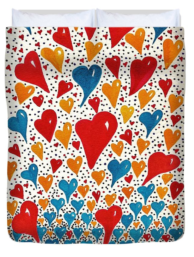 Hearts Duvet Cover featuring the painting Hearts For You by Joy Bradley