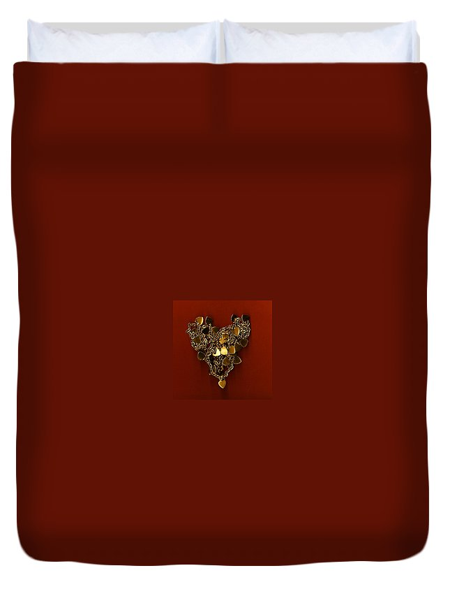 Heart Duvet Cover featuring the painting Hearts Within Hearts by Shannon Grissom
