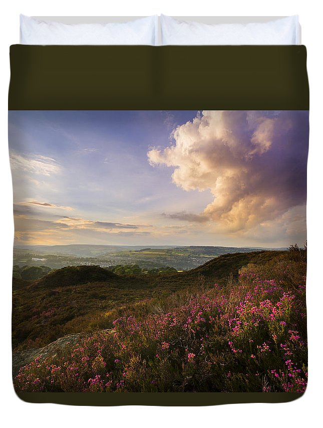 Norland Duvet Cover featuring the photograph Heather Sunset by Chris Smith