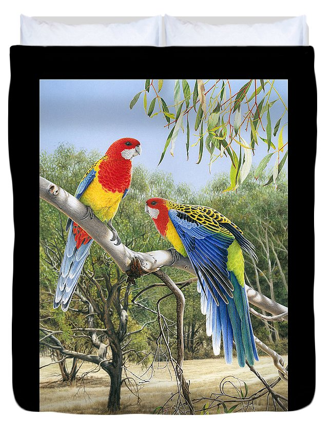 Rosella Duvet Cover featuring the painting Heatwave - Eastern Rosellas by Frances McMahon