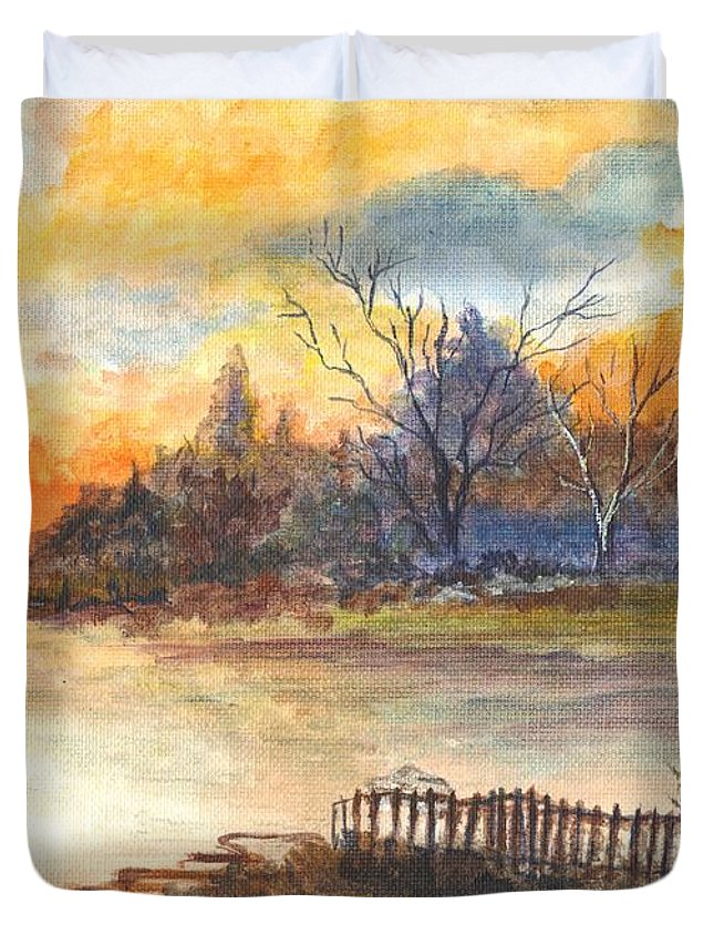 Sunset Duvet Cover featuring the painting The Serene Sunset by Carol Wisniewski