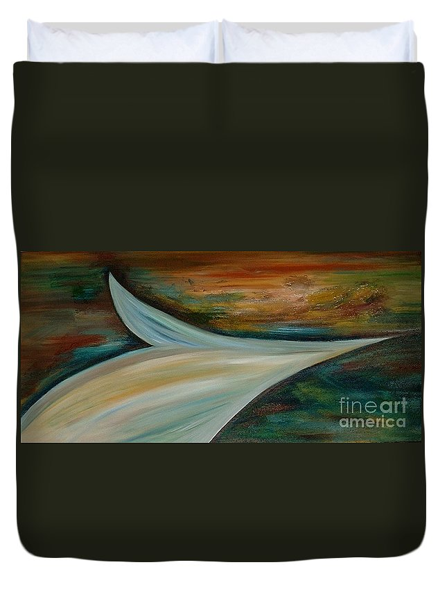 Modern Art Duvet Cover featuring the painting Heaven by Silvana Abel