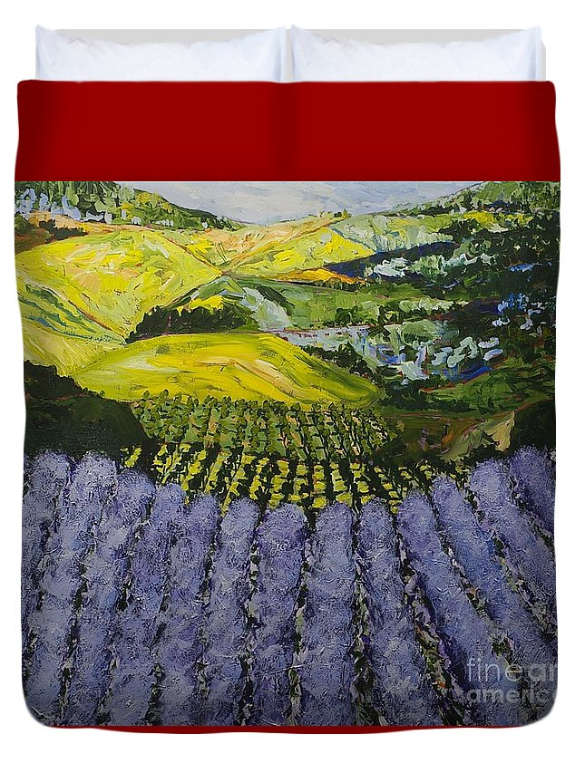 Landscape Duvet Cover featuring the painting Heavenly Valley by Allan P Friedlander