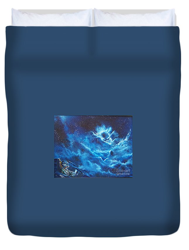 Astro Duvet Cover featuring the painting Heavens Gate by Murphy Elliott