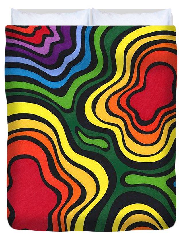Rainbow Duvet Cover featuring the drawing Heavy Rain by Mandy Shupp