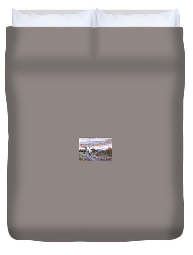 Watercolor Duvet Cover featuring the painting Hebo Farmhouse by Chriss Pagani