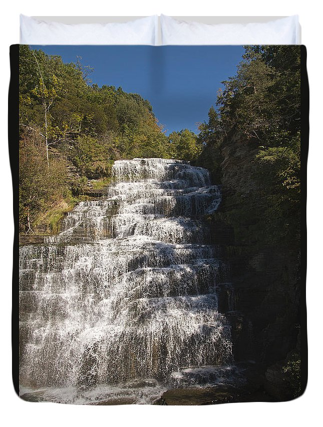 Water Duvet Cover featuring the photograph Hector Falls by William Norton
