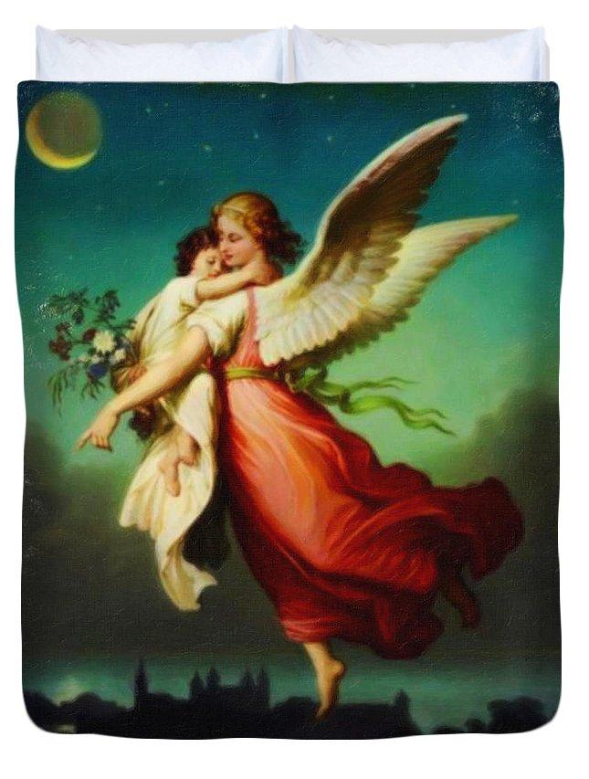 Heiliger Schutzengel Guardian Angel 10 Pastel Angle Duvet Cover featuring the painting Heiliger Schutzengel Guardian Angel 10 Pastel by MotionAge Designs