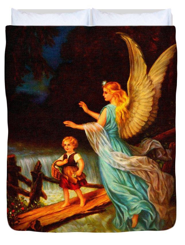 Heiliger Schutzengel Guardian Angel 11 Oil Angle Duvet Cover featuring the painting Heiliger Schutzengel Guardian Angel 11 Oil by MotionAge Designs