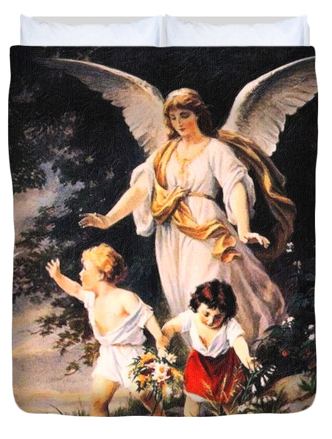 Heiliger Schutzengel Guardian Angel 6 Pastel Angle Duvet Cover featuring the painting Heiliger Schutzengel Guardian Angel 6 Pastel by MotionAge Designs