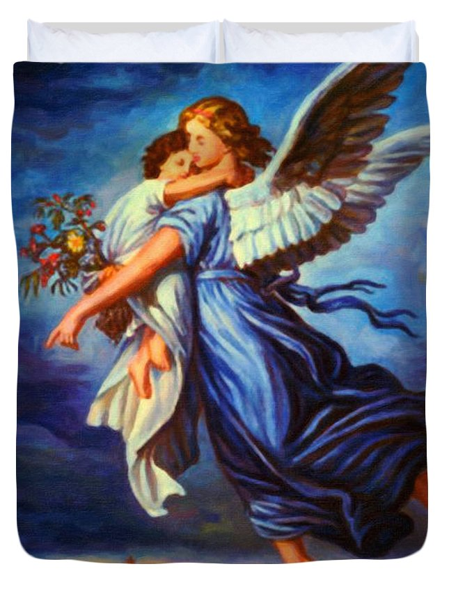 Heiliger Schutzengel Guardian Angel 7 Oil Duvet Cover featuring the painting Heiliger Schutzengel Guardian Angel 7 Oil by MotionAge Designs