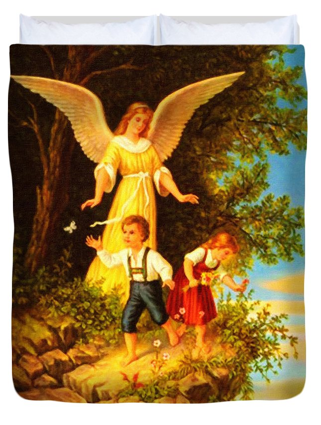 Heiliger Schutzengel Guardian Angel 8 Green Place Duvet Cover featuring the painting Heiliger Schutzengel Guardian Angel 8 Oil by MotionAge Designs