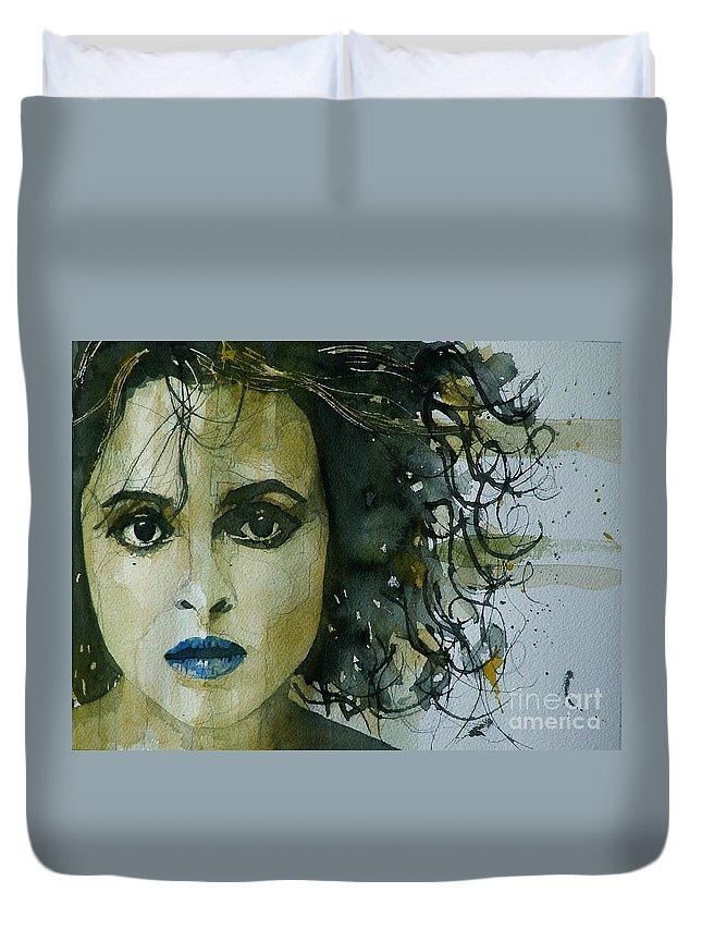 Helena Bonham Carter  Duvet Cover featuring the painting Helena Bonham Carter by Paul Lovering
