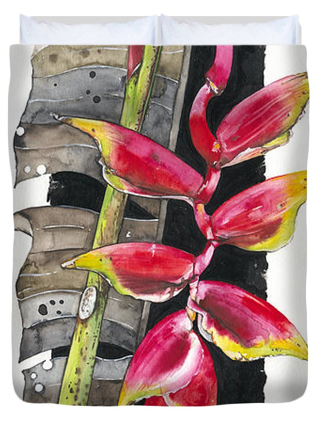 Elena Yakubovich Duvet Cover featuring the painting Heliconia 03 Elena Yakubovich by Elena Yakubovich