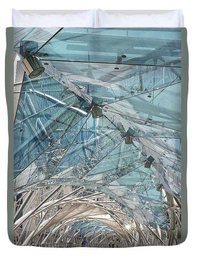 Photography Duvet Cover featuring the photograph Helix Bridge Singapore by Ivy Ho