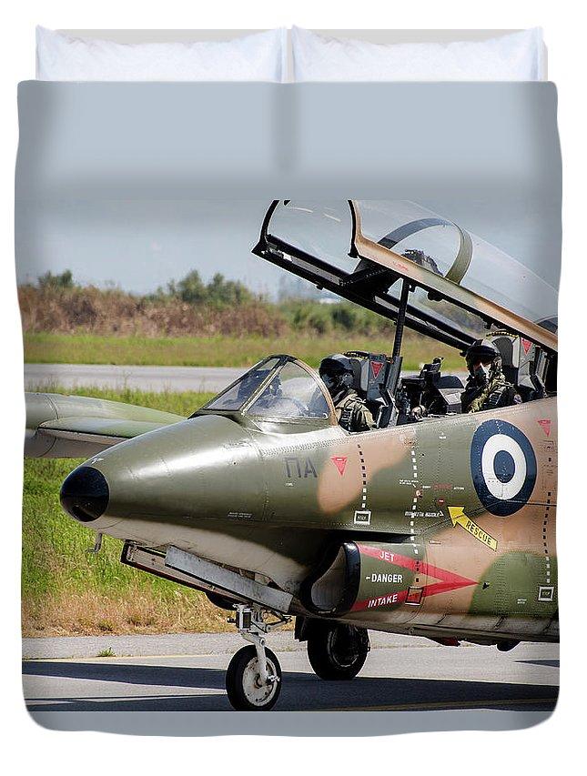 Greece Duvet Cover featuring the photograph Hellenic Air Force Pilots Sitting by Timm Ziegenthaler
