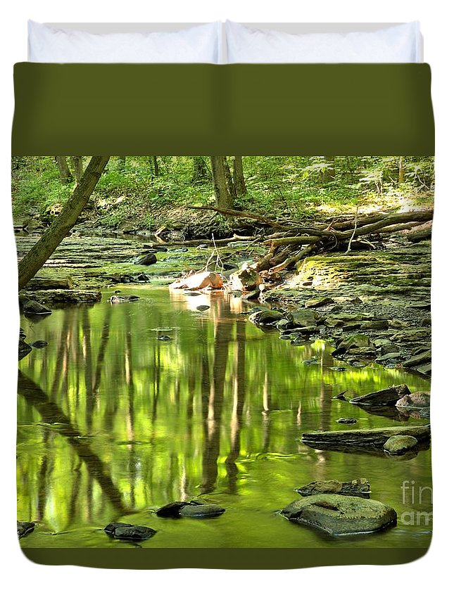Hells Hollow Duvet Cover featuring the photograph Hells Run Reflections by Adam Jewell