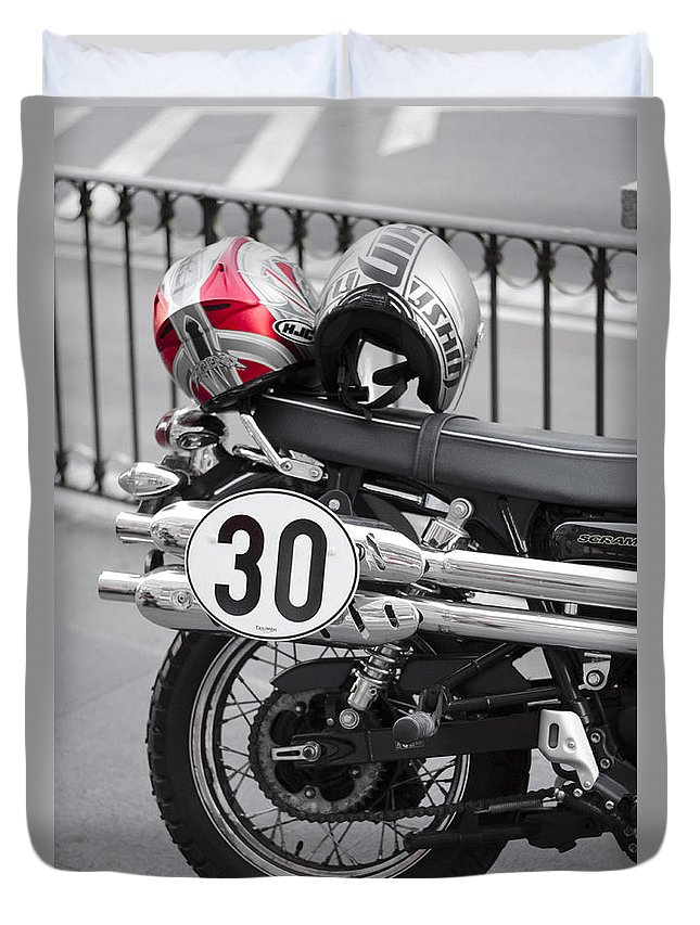Helmet Duvet Cover featuring the photograph Helmet In Red by Pablo Lopez