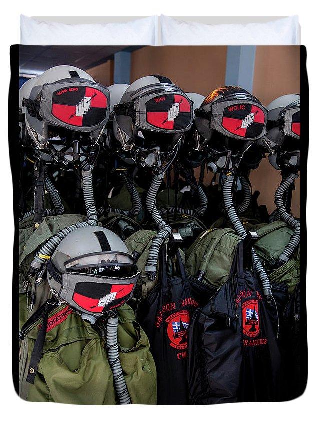 Greece Duvet Cover featuring the photograph Helmets And Flight Gear Of Hellenic Air by Timm Ziegenthaler