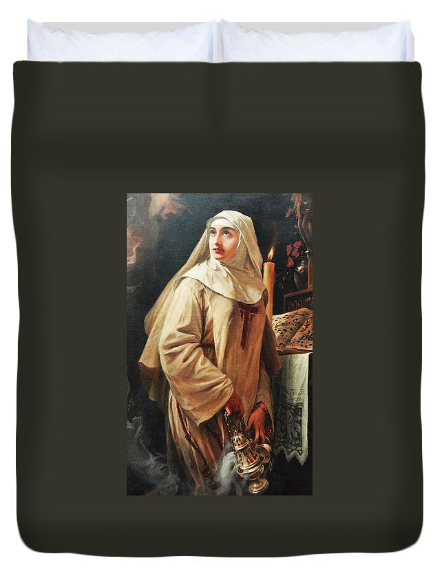 Pedro Americo Duvet Cover featuring the digital art Heloisas Vow by Pedro Americo