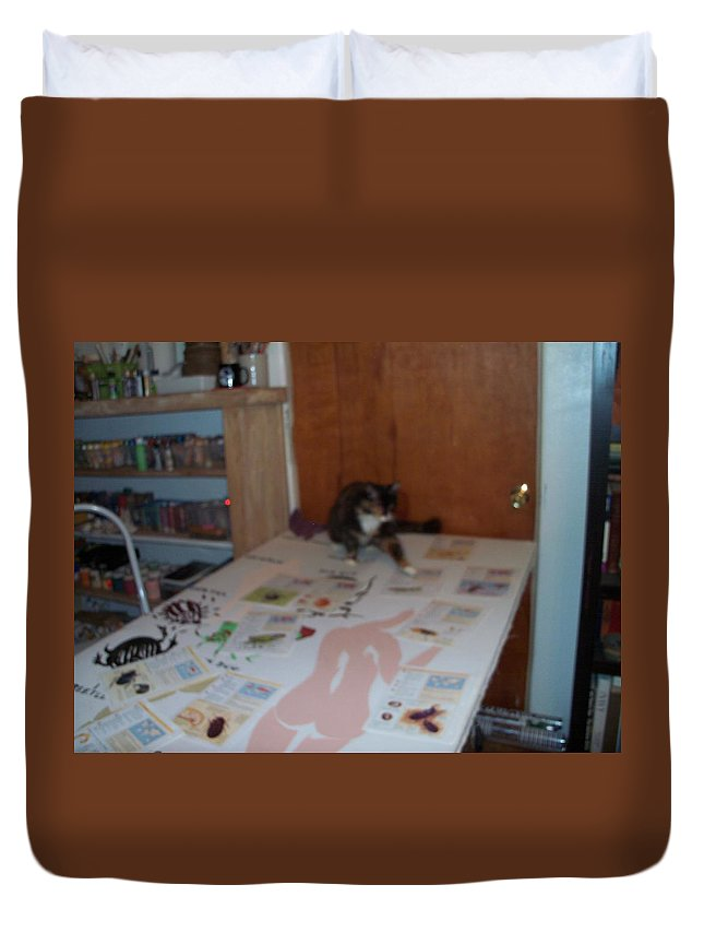 Cat Duvet Cover featuring the photograph Helper by Erika Chamberlin