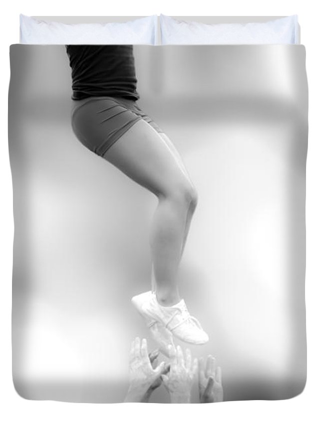 Gymnastics Duvet Cover featuring the photograph Helping Hands by Bob Orsillo