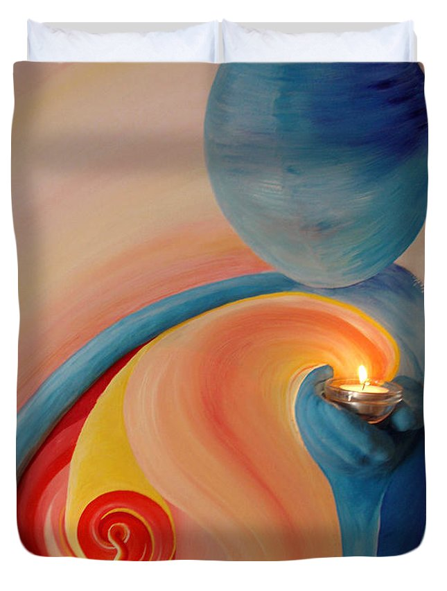 Duvet Cover featuring the painting Helping Hands High Resolution 2 by Catt Kyriacou