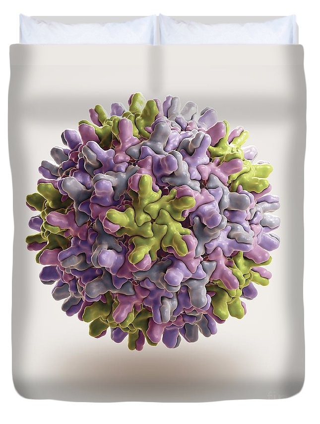 3d Visualisation Duvet Cover featuring the photograph Hepatitis B Virus by Science Picture Co