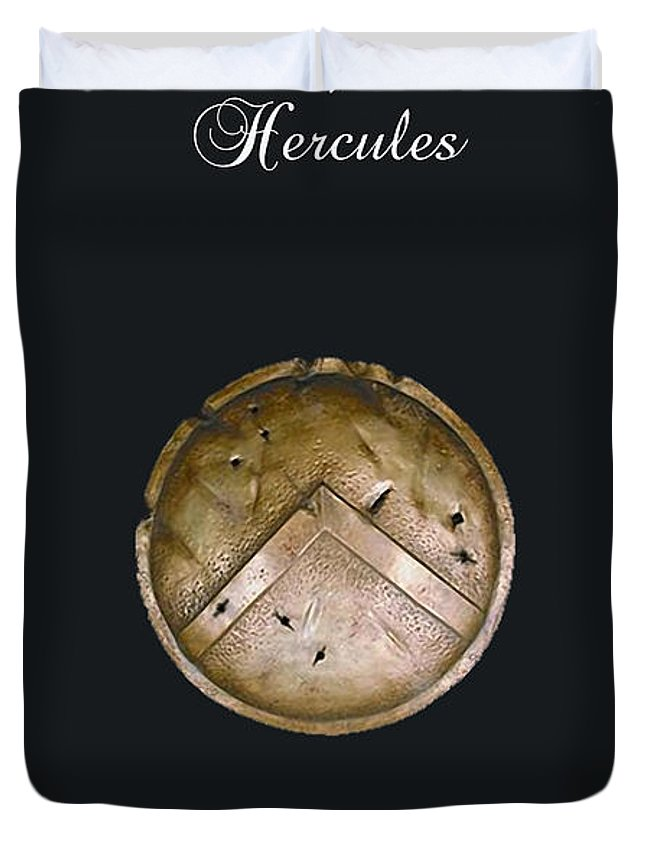 Home Duvet Cover featuring the mixed media Hercules by Marvin Blaine