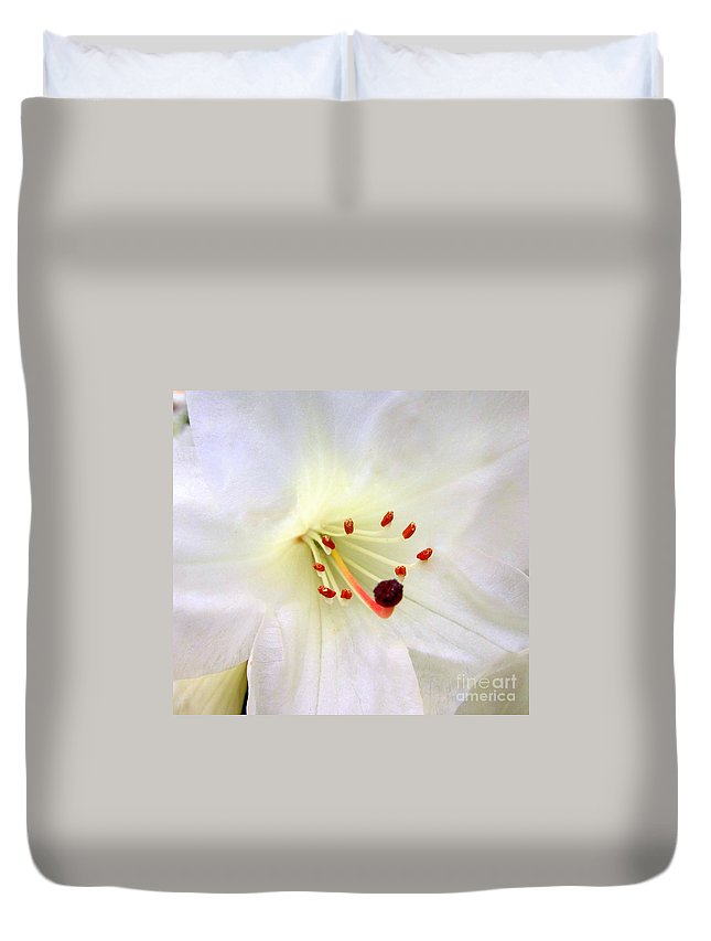 Rhododendron Duvet Cover featuring the photograph Here Comes The Bride by Lena Photo Art