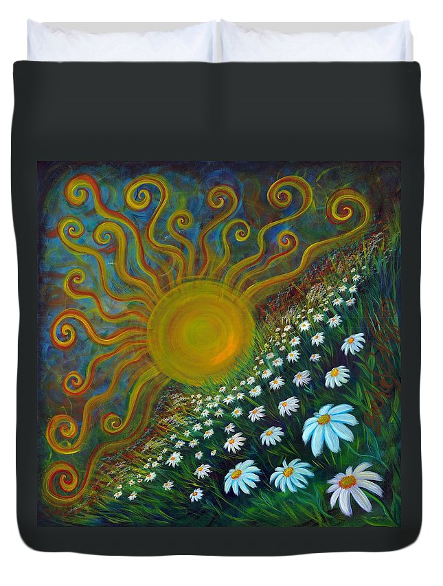 Here Comes The Sun Duvet Cover featuring the painting Here Comes The Sun by Beckie J Neff