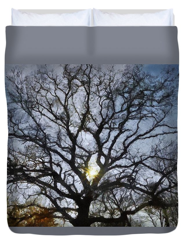 Autumn Duvet Cover featuring the painting Here Comes The Sun by Jeffrey Kolker