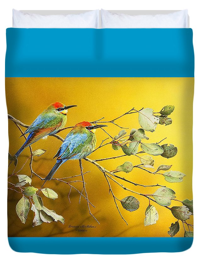 Gum Trees Duvet Cover featuring the painting Here Comes The Sun - Rainbow Bee-Eaters by Frances McMahon