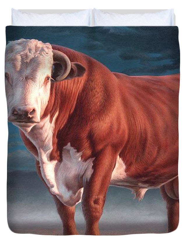 Hereford Bull Duvet Cover featuring the painting Hereford Bull by Hans Droog