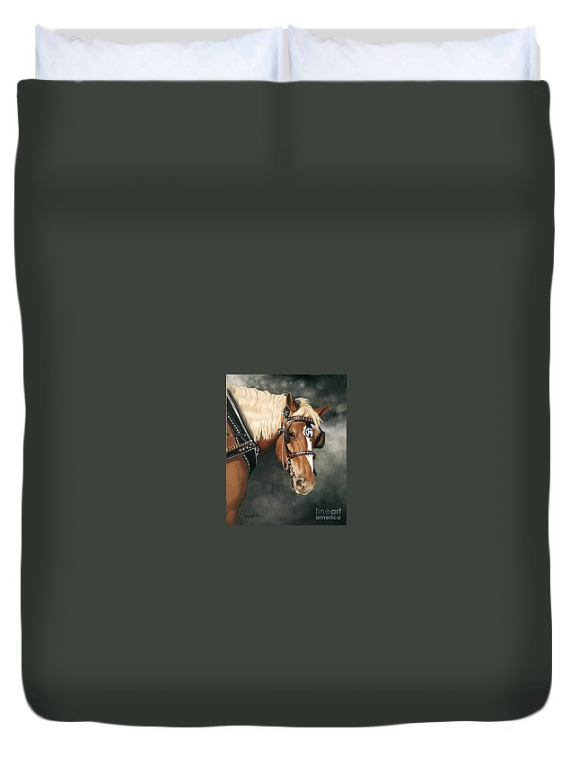 Western Duvet Cover featuring the painting Here's Lookin' At You Kid by Artist Karen Barton