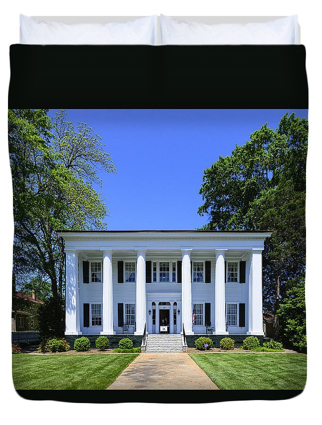 History Duvet Cover featuring the photograph Heritage Hall In Madison Georgia by Steve Samples
