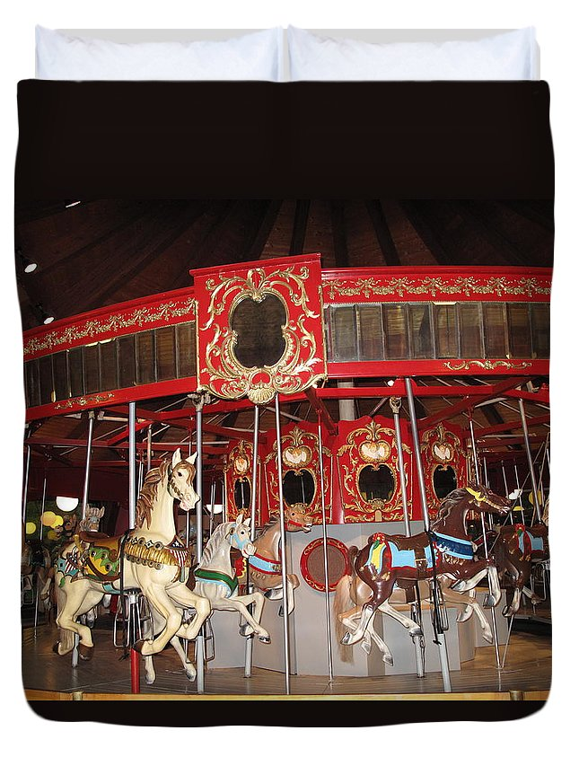 Carousel Duvet Cover featuring the photograph Heritage Looff Carousel by Barbara McDevitt