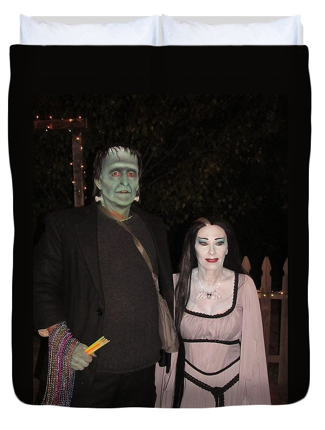 The Munsters Duvet Cover featuring the photograph Herman And Lilly Munster by Donna Wilson