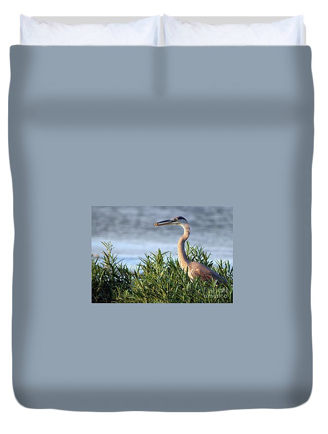 Heron Duvet Cover featuring the photograph Heron And Crayfish 2029 by Jack Schultz