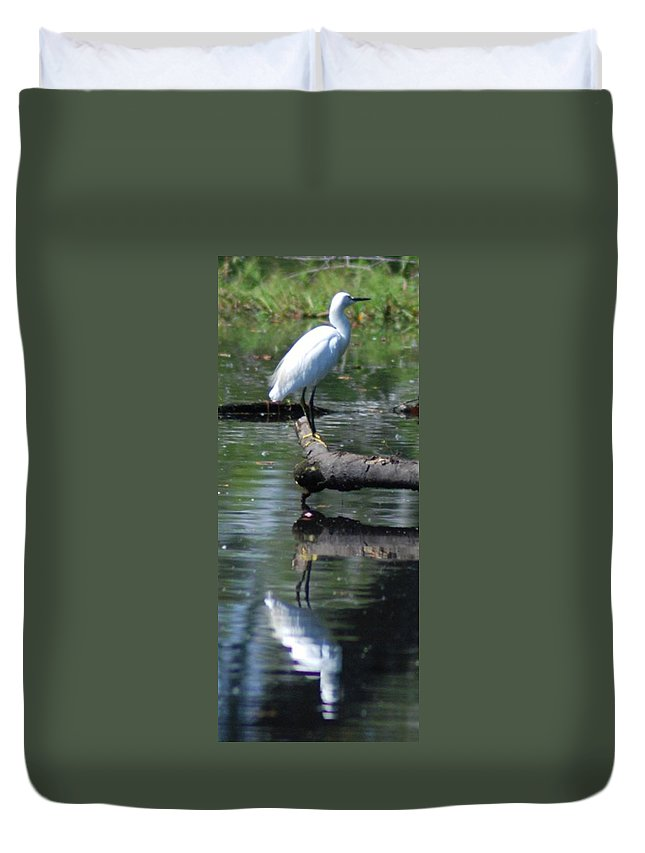 Heron Duvet Cover featuring the photograph Heron And Reflection by Lawrence Pratt