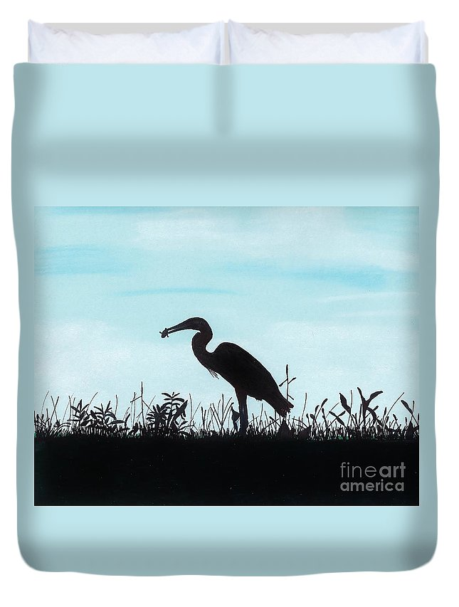 Bird Duvet Cover featuring the drawing Heron Has Supper by D Hackett