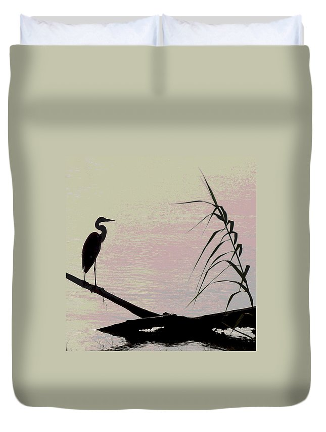 Heron Duvet Cover featuring the photograph Heron Morning by Kent Dunning