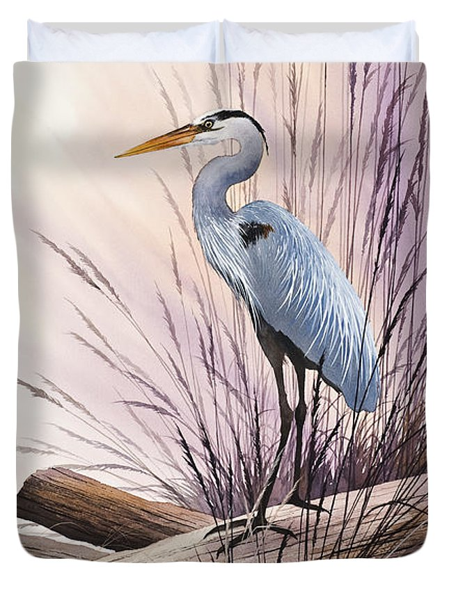 Heron Duvet Cover featuring the painting Herons Driftwood Home by James Williamson