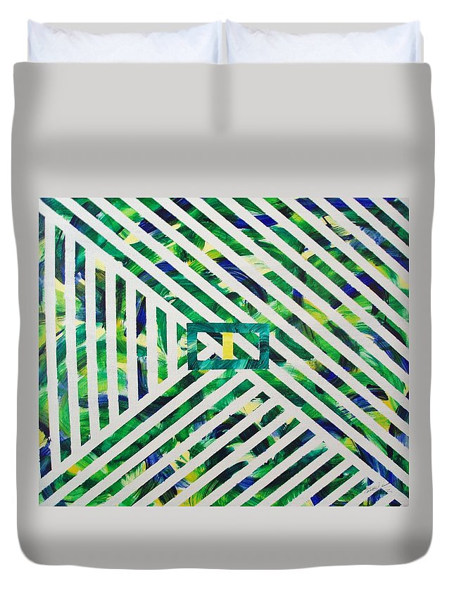 Geometric Art Duvet Cover featuring the painting Hey Geo by Patricia Brewer-Cummings