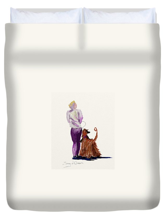 Ipad Painting Duvet Cover featuring the painting Hey Ma Look Over There by Terry Chacon