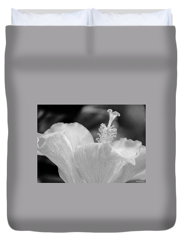 Hibiscus Bw Duvet Cover featuring the photograph Hibiscus Bw by Maria Urso