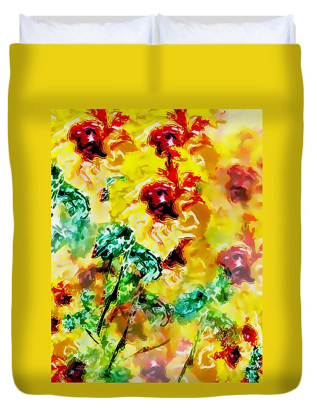 Flowers Duvet Cover featuring the digital art Hibiscus Impressionist by William Braddock