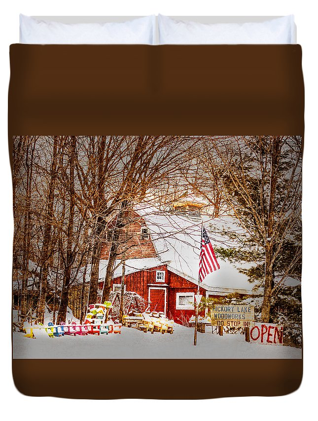 Old Duvet Cover featuring the photograph Hickory Lake Woodworks by Paul Freidlund