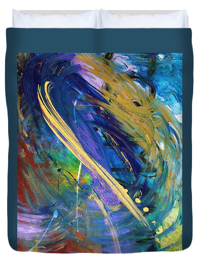 Energy Duvet Cover featuring the painting Hidden Command by Kume Bryant
